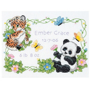 "Dimensions Baby Hugs ""Baby Animals"" Birth Record Stamped Cross Stitch Kit, 30cm x 23cm"