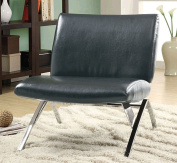 Monarch Specialties I 8073 Black Leather-Look - Chrome Metal Modern Accent Chair