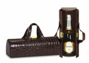 Picnic Plus PSM-112CC Picnic Plus Carlotta Clutch Wine Bottle Tote - Chocolate Croc