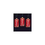Set of 10 Battery Operated Coca-Cola Can LED Christmas Lights - Green Wire