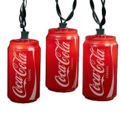 Set of 10 Blow Mould Classic Coca-Cola Can Party Christmas Lights - Green Wire