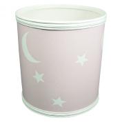 Stars and Moons Pattern Vinyl Nursery Wastebasket in Pink