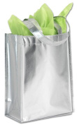 Bags & Bows by Deluxe 5801-9430 Centre Stage Silver Metallic Non-Woven Totes - Case of 100