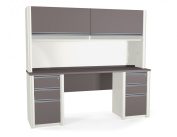 Bestar 93876-1459 Connexion credenza and hutch kit including assembled pedestals in Sandstone & Slate finish