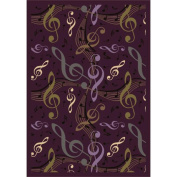 Joy Carpets 1573B-04 Virtuoso Plum 3 ft.10 in. x 5 ft.4 in. 100 Pct. STAINMASTER Nylon Machine Tufted- Cut Pile Whimsy Rug