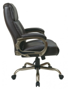 Office Star ECH12801-EC1 Executive Espresso Eco-Leather Big Mans Chair with Coated Padded Loop Arms and Cocoa Metal Base. Supports up to 350 lbs- Espresso-Eco-Leather