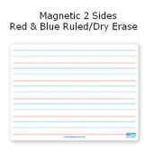 Flipside Products 12076 9x12 Dry Erase Board Magnetic Both Sides Red & Blue Ruled-Dry Erase - 24 Pack