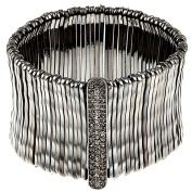 Celeste 622b-0070BD Celeste Jet Black Bamboo Bar Pave-Set Crystal Stretch Bracelet