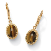PalmBeach Jewelry 46453 Oval-Shaped Genuine Tigers Eye Cabochon 14k Yellow Gold-Plated Drop Earrings