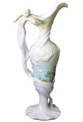 Unicorn Studios AP20025AA White Porcelain Pitcher Maid in Dress with Ginkgo