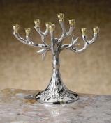 Silver-Tone Tree Design Hanukkah Menorah, 14cm Tall - Biedermann & Sons - HM60