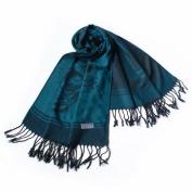 Blancho Bedding Pa-615-4 Dark Green Base Flower Patterns Elegant Super Soft Woven Tassel Ends Pashmina/Shawl/Scarve