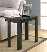 Monarch Specialties I 3112 Black - Grey Marble Accent Side Table