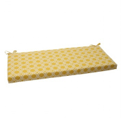 Pillow Perfect 506852 Outdoor Rossmere Bench Cushion in Yellow - Yellow-White