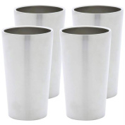 Maxam 4pc Double Wall 380ml Stainless Steel Tumbler Set- Wall Ss Tumbler