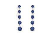 FineJewelryVault UBER1605W14S-101 Blue Sapphire Journey Earrings : 14K White Gold - 2.00 CT TGW