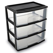 Home Products 05543BK.01 Large Three Drawer Cart Black