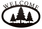 Village Wrought Iron WEL-20-L Large Pine Trees Welcome Sign