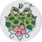 Janlynn 378541 Froggie Mini Counted Cross Stitch Kit-6.4cm . Round 18 Count