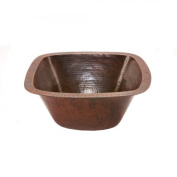 Premier Copper Products BS15DB2 15 in. Square Hammered Copper Bar-Prep Sink