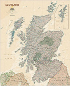 National Geographic Maps RE01020538 Scotland Executive Wall Map - Laminated