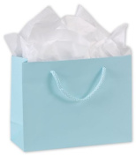Bags & Bows by Deluxe 244M-090307-89 Light Aqua Matte Laminated Euro-Shoppers - Case of 200
