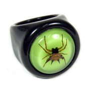 Ed Speldy East R0014-6 Black Spiny Spider Ring with Green Back - Size 6