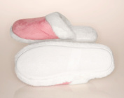 Living Healthy Products LSFT-002-56 5-6 Ladys Suede Faux Fur Trimmed Slipper Pink
