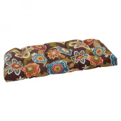 Pillow Perfect 500010 Outdoor Annie Wicker Loveseat Cushion in Chocolate - Brown-Turquoise-Gold-Orange-Green