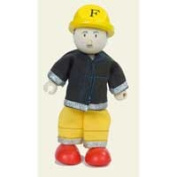 Le Toy Van BK923 New Budkins Bendy Wooden Doll Firefighter in Yellow