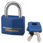 Master Lock 1-.142.2cm . Blue Vinyl Cover Brass Padlock 142DCM