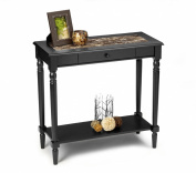Convenience Concepts M6042189 French Country Foyer Hall Table with Drawer and Shelf, Black Faux Marble
