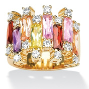PalmBeach Jewelry 482317 8.96 TCW Emerald-Cut Multi-Color Cubic Zirconia 14k Yellow Gold-Plated Ring - Size 7