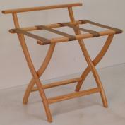 Wooden Mallet LR4-LOTAN WallSaver Luggage Rack in Light Oak with Tan Webbing