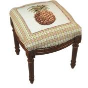 123 Creations C531FS.15x16x19 inch Pineapple Needlepoint Stool in Hardwood - 100 Percent Wool