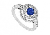 FineJewelryVault UBJ8387W14DS-101 Blue Sapphire and Diamond Ring : 14K White Gold - 1.75 CT TGW - Size