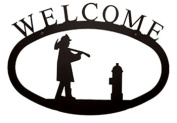 Village Wrought Iron WEL-15-S Small Welcome Sign-Plaque - Fireman