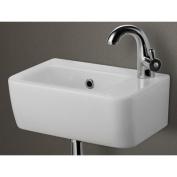 ALFI brand AB101 Small Wall Mounted Ceramic Bathroom Sink Basin - White