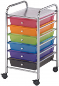 Blue Hills Studio Storage Cart W/6 Drawers, 33cm x 70cm x 39cm , Multi