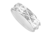 FineJewelryVault UBVF3C600W14-120 6MM Comfort Fit Fancy Wedding Band : 14K White Gold - Size