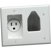Datacomm Electronics 45-0021-WH Recessed Cable Plate - with Power; White