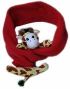 BearHands S-GIR-RED Scarf Fleece Giraffe on Red