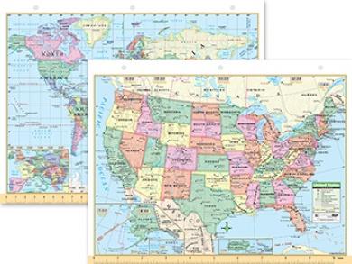 Kappa Map Group / Universal Maps UNI15024 Us and World Notebook Map 8-half X 11