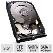 Seagate Technology ST3000DM001 HDD Barracuda 64MB 3TB SATA III 6Gb-s 7200rpm Bare Drive