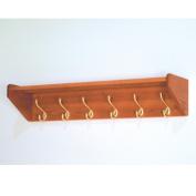 Wooden Mallet Hat and Coat Rack with 6 Brass Hooks in Medium Oak