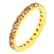 J Goodin R07865G-V12-07 14k Rose Gold Bonded Eternity Ring with Channel Set Pink Ice CZ in Goldtone- Size 7