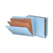 Smead 26781 Pressboard End Tab Classification Folders Letter 6-Section Blue 10/bx