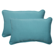 Pillow Perfect 506999 Outdoor Forsyth Corded Rectangular Throw Pillow in Turquoise - Set of 2 - Turquoise