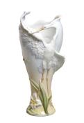 Unicorn Studios AP20089AA Glazed White Porcelain Egret Vase with Flowers