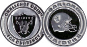 Oakland Raiders - Officially licenced NFL Team Challenge Coin Card Guard - Poker Protector Token